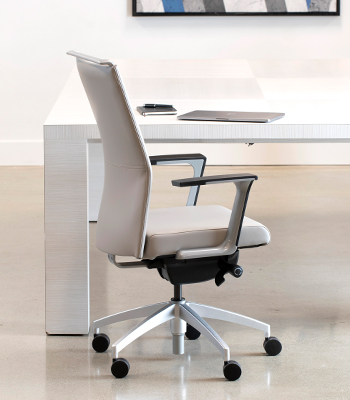Sona upholstered task chair, Sili-Tex Leather, Clay back & seat